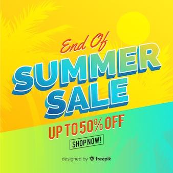 End of summer sales background flat design