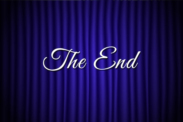 The end text over blue backdrop