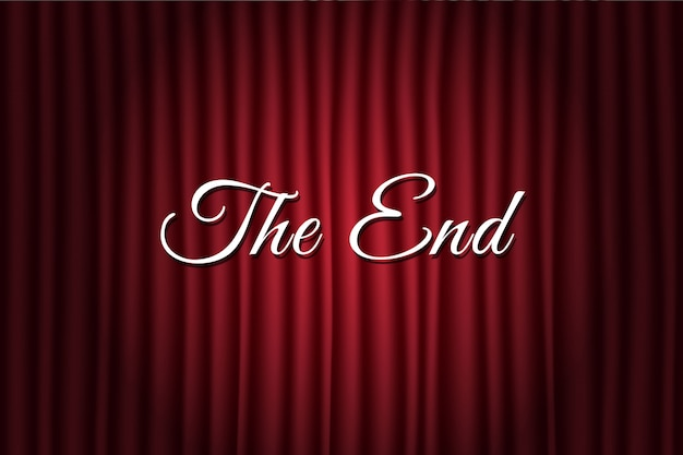 The end text over red backdrop
