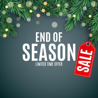 End of winter sale background, discount coupon template.  illustration