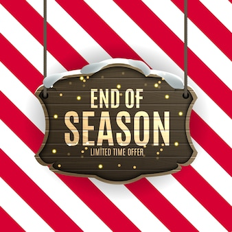 End of winter sale background, discount coupon template.