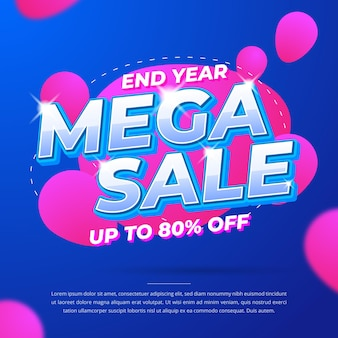 End year mega sale promotional banner template
