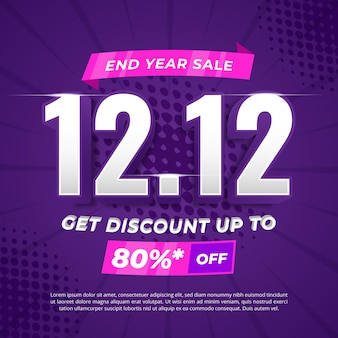 End year sale 12.12 promotional banner template with halftone background