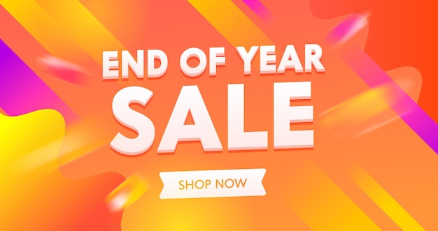 End of year sale advertising banner with typography on colorful orange
