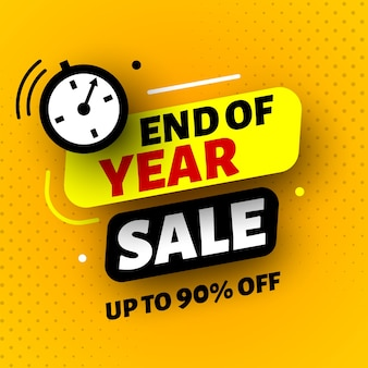 End of year sale banner with clock