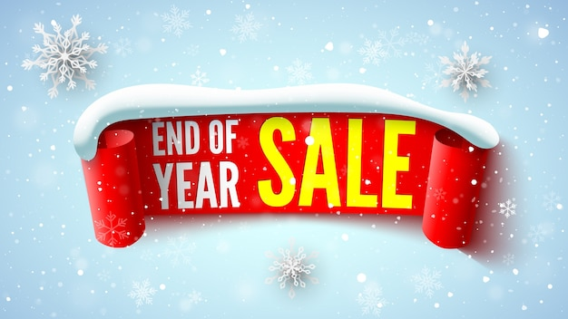 End of year sale banner with red ribbon snow cap and snowflakes