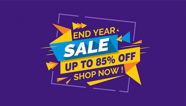 End year sale, colorful sale banner