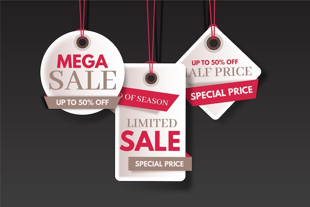 End of year sale savings colourful labels set