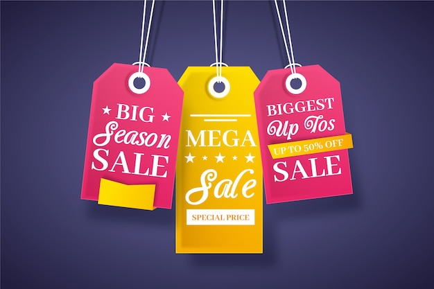 End of year sale savings hanging labels set