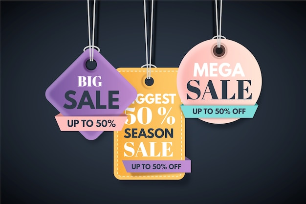 End of year sale savings labels set