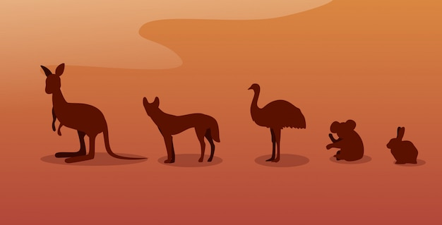 絶滅危wild種のオーストラリアの野生動物のシルエットディンゴダチョウコアラカンガルーウサギ野生動物種動物相森林火災オーストラリアで