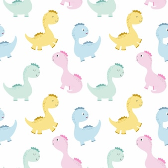 Endless background with cute dinosaurs for baby. monster, dragon and dinosaur. vector pattern for printing on wallpaper, fabric, clothing, packaging paper for birthday.