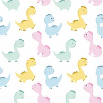 赤ちゃんのためのかわいい恐竜と無限の背景。モンスター、ドラゴン、恐竜。誕生日の壁紙、布、衣類、包装紙に印刷するためのベクトルパターン。