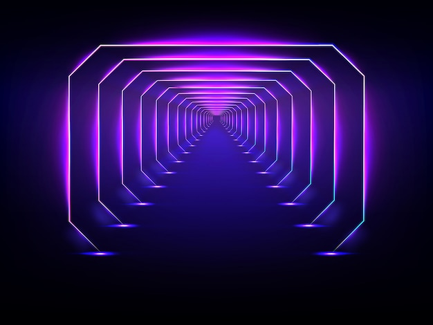 Endless futuristic tunnel glowing neon illumination vector