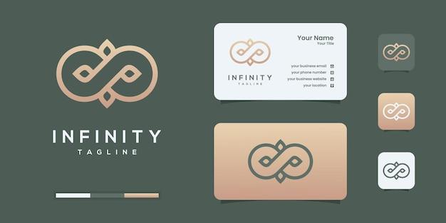 ラインアートスタイルのシンボル、概念的な特別なロゴデザインテンプレートを備えた無限の無限ループ。