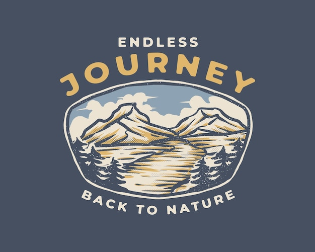 An endless journey to the mountain vintage badge illustration