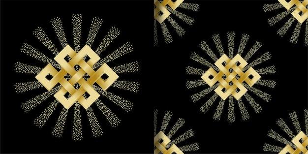 끝없는 매듭 기호 인쇄 및 원활한 패턴 세트