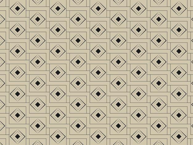 ゴールデンとブラックの色で無限に重なり合うダイヤモンドの正方形のパターンの背景。