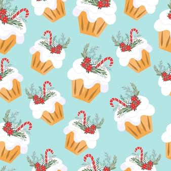 クリスマスのペストリーと無限のパターン。青い背景にお祝いのカップケーキ。テキスタイルと紙のオリジナルプリント。ベクトルイラスト、フラット