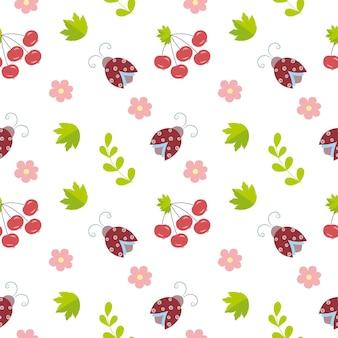 딱정벌레, 꽃, 잔가지가 있는 끝없는 매끄러운 배경. 자연 속에서 무당벌레와 어린이 패턴입니다. 배경 화면, 어린이 방, 섬유, 의류, 책, 표지.