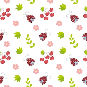 Endless seamless background with beetles, flowers and twigs. children's pattern with ladybirds in nature. background for wallpaper, children's room, textiles, clothing, books, covers.