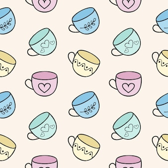 Endless seamless background with tea mugs. template for the menu of a dining room, cafe or restaurant. children's cartoon illustration of doodles with cups . printing on fabric, clothing, and paper.