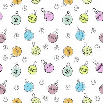 Бесконечные бесшовные модели с разноцветными елочными шарами на новый год и рождество. детский почерк к празднику. обои для текстиля, обложки, упаковочная бумага.