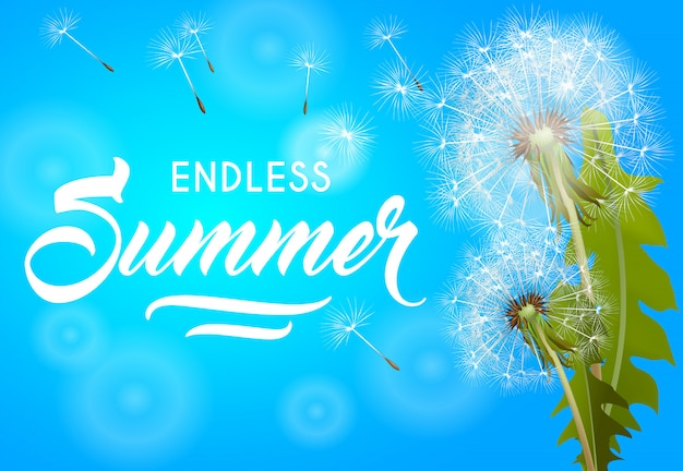 Endless summer banner with blowing dandelion on sky blue background.