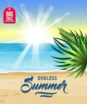 Endless summer, big sale poster with sea, tropical beach, sunrise and palm leaves.
