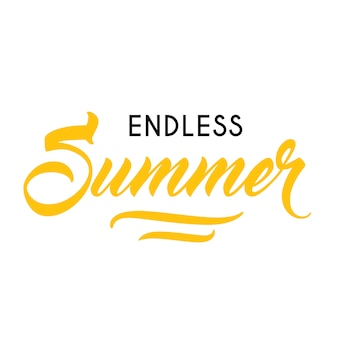 Endless summer seasonal advertisement template. Typed and calligraphic text can be used for greeting