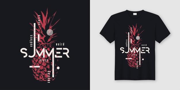 無限の夏のtシャツとアパレルのモダンなデザイン、スタイルのパイナップル、タイポグラフィ、プリント