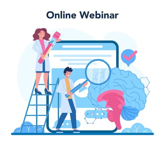 내분비 학자 온라인 서비스 또는 플랫폼. 갑상선 검사. 건강과 치료에 대한 아이디어. 온라인 웨비나.