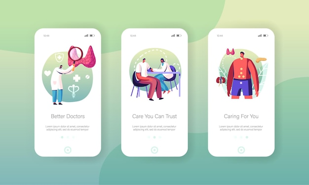 Endocrinology, hormone diseases and disbalance mobile app page screen templates set.