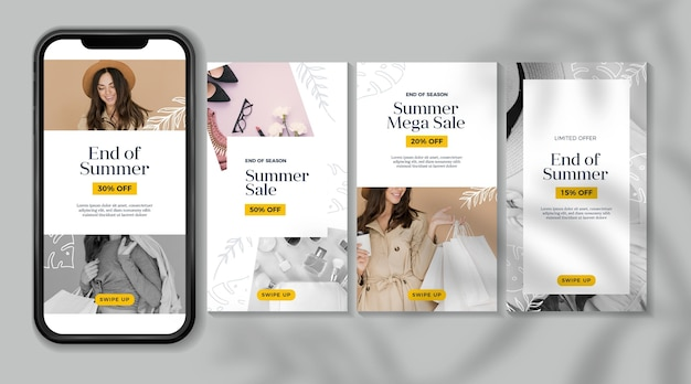 Ends of summer sale instagram stories collection
