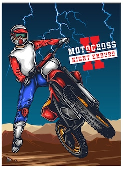 Мотокросс enduro offroad illustration