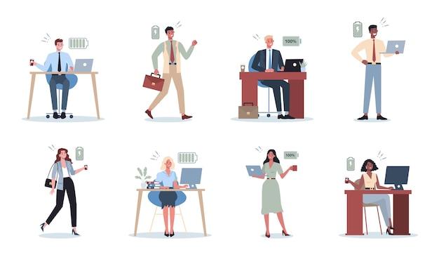 エネルギッシュなビジネスの男性と女性のセット。エネルギービジネスマンでいっぱい。プロの生産性と熱意。