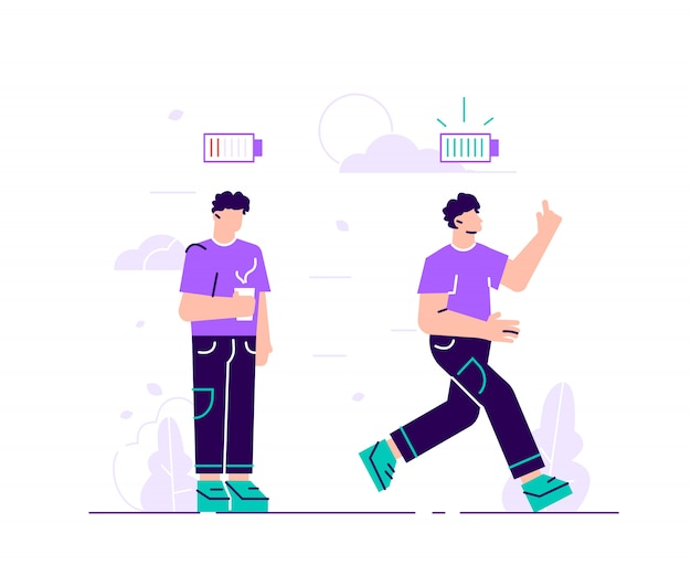 Energetic and exhausted workers vector illustrations set. happy and unhappy male employee and battery charge indicator.