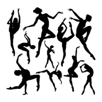Energetic female ballet dancer silhouettes