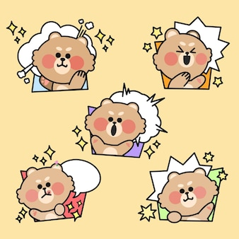 Energetic teddy bear expression doodle illustration set