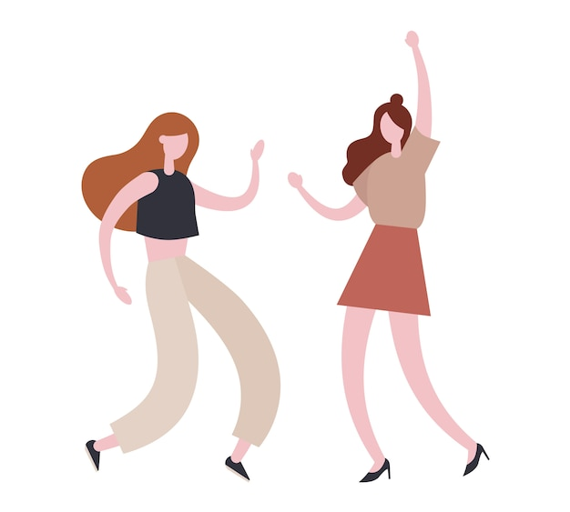 Energetic women dancing together during party.   illustration