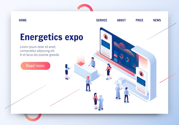 Energetics expo banner. exhibition center. people.