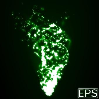 입자와 부드러운 에너지 트레일이있는 에너지 빔. 녹색 버전.