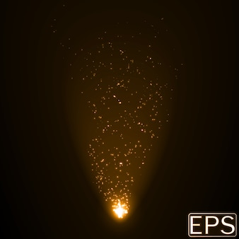 Energy beam with particles. golden color version.