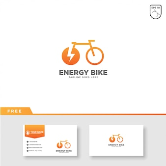 Energy bike logo vector and business card template