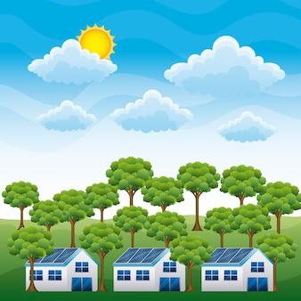 Энергия чистая - панель домов солнечное и лесное облако солнце
