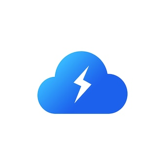 Energy cloud icon. cloud storage concept. blue cloud icon in flat style. lightning bolt weather. vector on isolated white background. eps 10.