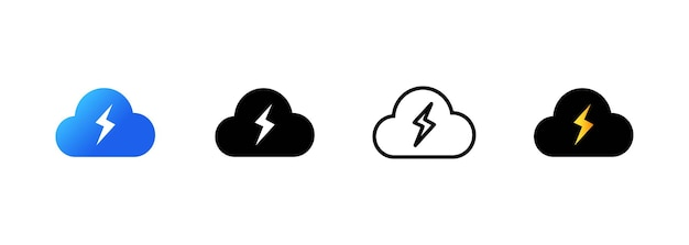 Energy cloud icon. cloud storage concept. blue cloud icon in flat style. lightning bolt weather. vector on isolated white background. eps 10
