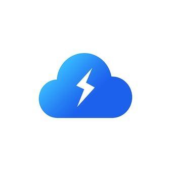 에너지 클라우드 아이콘입니다. 클라우드 스토리지 개념입니다. 평면 스타일에 파란색 구름 아이콘입니다. 번개같은 날씨. 격리 된 흰색 배경에 벡터입니다. eps 10.