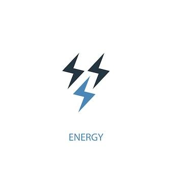 에너지 개념 2 컬러 아이콘입니다. 간단한 파란색 요소 그림입니다. 에너지 개념 기호 디자인입니다. 웹 및 모바일 ui/ux에 사용할 수 있습니다.