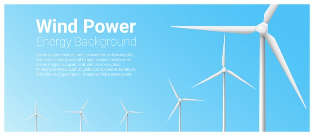 Energy concept banner template with wind turbine